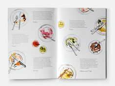 Waitrose Cookery School illustration of empty plates. if we ever wanted to do a feature about food it would be really cool to do illustrations this way of the final product and have the recipes next to them.