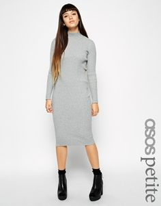 ASOS PETITE Exclusive Fine Ribbed Sweater Dress