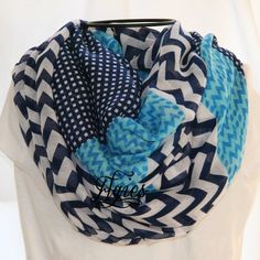 Navy Blue Turquoise and  White Chevron Stripes and by elgies