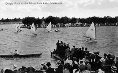 Dingy racing on Albert Park Lake, Melbourne, 1910