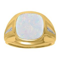 Diamond and Opal Men's Large Ring In Yellow Gold Father's Day 2015 Unique Jewelry Gift Presents and Ideas. Gemologica.com offers a large selection of rings, bracelets, necklaces, pendants and earrings crafted in 10K, 14K and 18K yellow, rose and white gold and sterling silver for that special dad. Our complete collection and sale of personalized and custom gifts for dad: www.gemologica.com/mens-jewelry-c-28.html