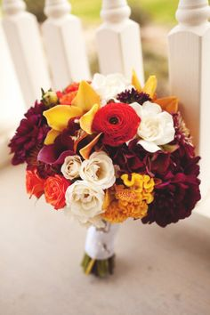 Pantone 2015 Marsala bridal bouquet | burgundy, red, yellow, white wedding bouquet  Wedding Wishes DFW Wedding Guide