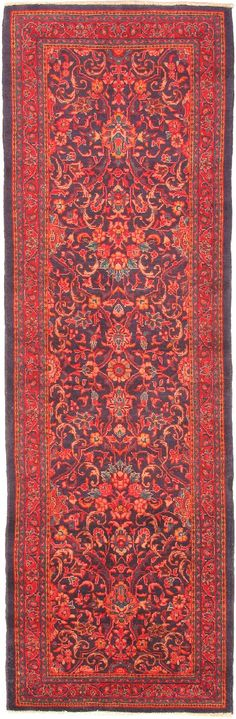 Hand-knotted Persian Vogue Navy, Red Wool Rug