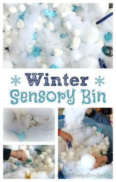 This fun winter sensory bin is an easy indoor activity, great for practicing fine-motor skills and fighting boredom when it's too cold to play outside. Winter Activities for Kids Winter Activities For Toddlers, Indoor Activities, Sensory Activities, Infant Activities, Sensory Play, Preschool Winter, Sensory Diet, Sensory Boxes, Sensory Table