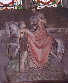 Eglise Saint-Martin à Ligueil (37240) - La statue de terre cuite de la charité de Saint-Martin (fabriquée vers les années 1900).