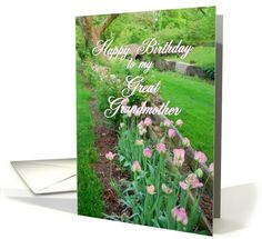 Happy Birthday Great Grandmother Pink Tulips Along Fence Blank Card
