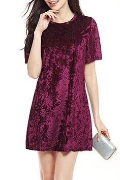 ChongXiao Women s Crew Neck Velvet Short Sleeve Casual Loose A-line Dress c575691cc