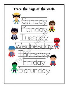 printable letter sheets for preschoolers days of the week | days of the week tracing cards