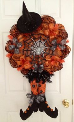 Decomesh Spiderweb Witch wreath - FREE SHIPPING on Etsy, $99.00
