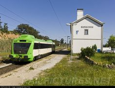 High quality photograph of CP Portugal CP 0350 # CP 0356 at Vila Nova da Barquinha, Portugal. Train Stations, Lisbon, Roads, Paths, Parking Lot, Transportation, Train