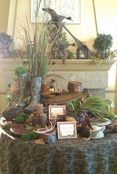 grooms table to surround his cake and also a great way to describe who he is with out every thing bein camo. Love this to for my fall wedding Camo Wedding, Wedding 2017, Wedding Bells, Rustic Wedding, Duck Hunting Wedding, Fishing Wedding Cakes, Grooms Cake Tables, Hunting Themes, Hunting Birthday