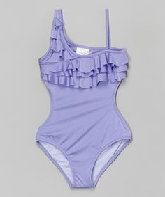Look at this 9's Swimwear Lilac Ruffle Asymmetrical One-Piece on #zulily today!