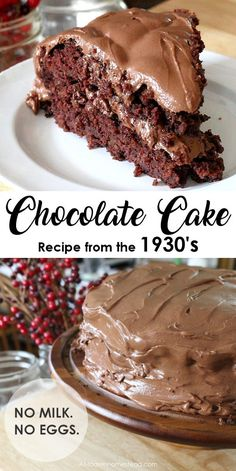 This chocolate cake recipe originates from the Great Depression, when such things as eggs and milk were scares. Unlike most chocolate cake recipes, it calls for neither! Also known as a Crazy Cake or Wacky Cake this egg and milk free chocolate cake is per Delicious Chocolate, Delicious Desserts, Dessert Recipes, Crazy Cakes, Dairy Free Chocolate, Chocolate Recipes, Cake Chocolate, Easy Chocolate Desserts, Baking Chocolate