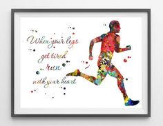 Male Runner art print running man poster runner by MimiPrints
