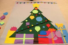 Tales of a Trusty Family: Felt Christmas Tree.  I like that tan background for added space.