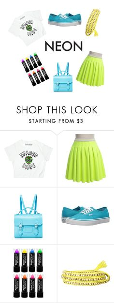 """""""blue & yellow neon"""" by straewberxy ❤ liked on Polyvore featuring beauty, Manoush, The Cambridge Satchel Company, Vans and Chan Luu"""