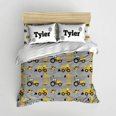 Construction Kids Bedding Personalized by SweetPeaPetiteShop