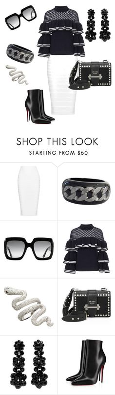 """Untitled #1754"" by styledbytjohnson on Polyvore featuring Cushnie Et Ochs, Chanel, Gucci, self-portrait, Prada, Simone Rocha and Christian Louboutin"