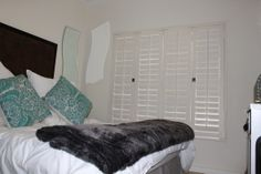 Ideal for smaller spaces, bedroom shutters can create a sense of a larger room Bedroom Shutters, Bean Bag Chair, Small Spaces, Larger, Create, Wood, Furniture, Home Decor, Decoration Home
