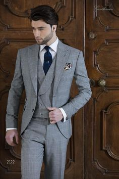 Bespoke Prince of Wales grey and blue suit Wedding Morning Suits, Wedding Suits, Mens Fashion Suits, Mens Suits, Gilet Costume, Blazer Outfits Men, Moda Formal, Formal Dresses For Men, Suit Combinations