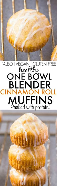 Healthy ONE BOWL BLENDER Cinnamon Roll Muffins- These quick, easy and fuss-free muffins are light and fluffy on the inside and tender on the outside- Topped with a double glaze which is completely sug (Vegan Gluten Free Muffins)