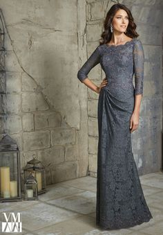 Elegant Dark Grey Lace Mother of the Bride Dresses Plus Size Floor Length 3/4 Sleeve Mermaid Evening Dress For Weddings