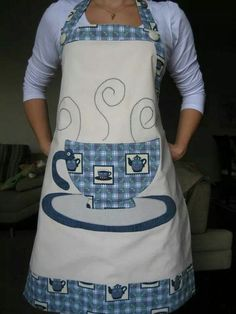 A cute image of a coffee/tea cup & saucer on a homemade apron. Hand Embroidery Patterns, Applique Patterns, Sewing Patterns, Sewing Aprons, Sewing Clothes, Sewing Hacks, Sewing Projects, Homemade Aprons, Jean Apron
