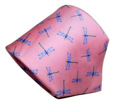 Allyn Silk Necktie Dragonflies on Pink Twill 3.75 Inches Wide 60.5 Inches Long  #Allyn #Tie