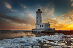 Point Abino Lighthouse Sunset by mikesoros. @go4fotos
