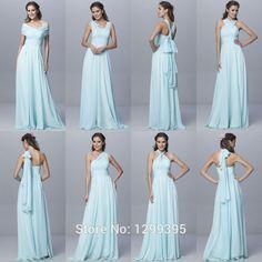 Aliexpress.com: Comprar Luz Verde de La Gasa Largos Vestidos de Dama de Venta Caliente Convertible Vestidos de Fiesta Para La Boda Seis Estilos Barato Vestido de vestido de inserción fiable proveedores en Comebuy Dresses