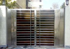 Swing Stainless Steel Entrance Gate, Rs 1400 /running feet A. Home Gate Design, Grill Gate Design, House Main Gates Design, Steel Gate Design, Railing Design, Front Door Design Wood, Front Gate Design, House Front Design, Modern Main Gate Designs