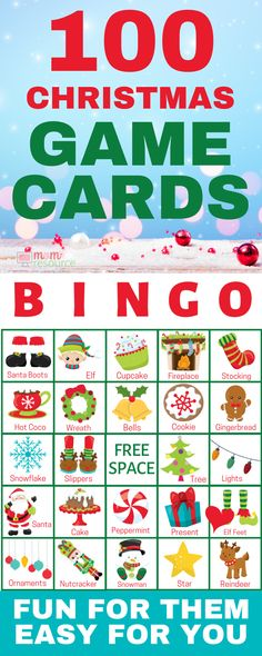 Christmas bingo printable game cards - Perfect printable bingo for large group! With words and pictures and instructions, these bingo cards are the perfect game for any Christmas party! School Christmas Party, Preschool Christmas, Christmas Crafts For Kids, Family Christmas, Christmas Holidays, Christmas Ideas, Christmas Snacks, Xmas Party, Christmas Cookies