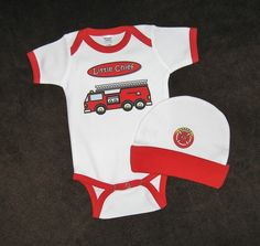 Personalized Fire Truck Baby Gift Set  Bodysuit by ReadySetCreate, $24.00