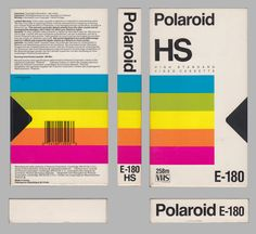 """Polaroid was a company more famous for its films and instant cameras, but they also lent their brand to a variety of other products. One of them is VHS cassettes – this one dubbed the """"… 90s Design, Retro Design, Logo Design, Layout Design, Vintage Graphic Design, Graphic Design Inspiration, Corporate Design, Image Basket, 80s Logo"""