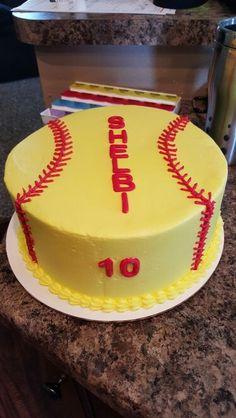 Softball cake for elet Softball Cupcakes, Softball Birthday Parties, Softball Party, Softball Treats, Baseball Birthday, Girls Softball, 11th Birthday, Birthday Ideas, Fondant Cakes