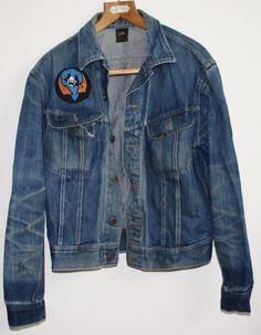 Genuine Vintage 80's Style Lee Men's Boy's Denim Jacket Blue Size S Worn Punk