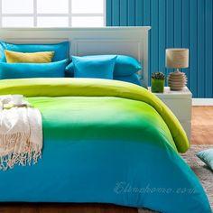 Studio Lime Green Teal Blue Striped Duvet Quilt Cover
