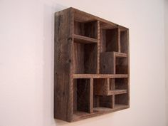 Wood Wall Art Display Shelves Shadowbox Made From Reclaimed Rustic Barn Wood, Western Decor Shadow Box Display Case