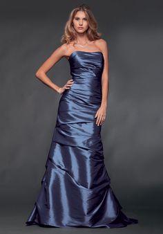 Royal Blue Slimly Alluring Strapless Wrinkle Floor Length Dress