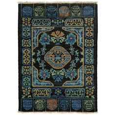 Darya Rugs Kaitag Collection Oriental Rug ($499) ❤ liked on Polyvore featuring home, rugs, apparel & accessories, no color, bright colored area rugs, oriental rugs, weave rug, woven wool rug and wool area rugs