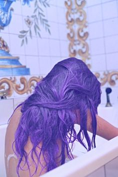 Wet Purple Dyed Hair, it's quite strong and vibrant the dye pictured here <3 Love It!