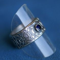Silver Celtic Ring with Sapphire Made to by LinneaSilverArrays Body Jewelry, Jewlery, Silver Celtic Rings, Celtic Designs, Rings Online, Sapphire, Rings For Men, Bling, Celtic Knots