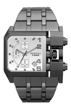DIESEL® Large Square Gunmetal Bracelet Watch available at #Nordstrom