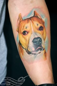 Color Realistic Dog Portrait tattoo