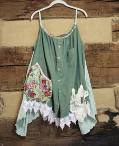 Boho Hippie Chic Clothing Womens Lagenlook Tunic Top Upcycled