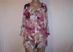 Womens Plus Sz 1X Shirt Blouse EAST 5TH Watercolor Floral Sheer 3/4 Sleeves #East5th #ButtonDownShirt #Career