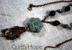 Blue Flower Necklace - Raku pendant, antiqued copper, chain, beads