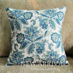 Hamptons Coastal Style Light Blue Floral Linen Cushion Cover x Hamptons House, The Hamptons, Coastal Style, Cushion Covers, Home Furniture, Light Blue, Cushions, Throw Pillows, Floral