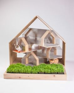"""Modern cat house design is brought into attention by the """"Giving Shelter"""" fundraiser in LA with 14 custom-build cat houses designed by Architects for Animals. Outdoor Cat Shelter, Outdoor Shelters, Outdoor Cats, Outdoor Sheds, Cat House Diy, Tiny House, Planer Layout, Shelter Design, Pet Furniture"""