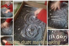 "Mark making in 'moon dust' - salt, black food colouring & glitter ("",)"